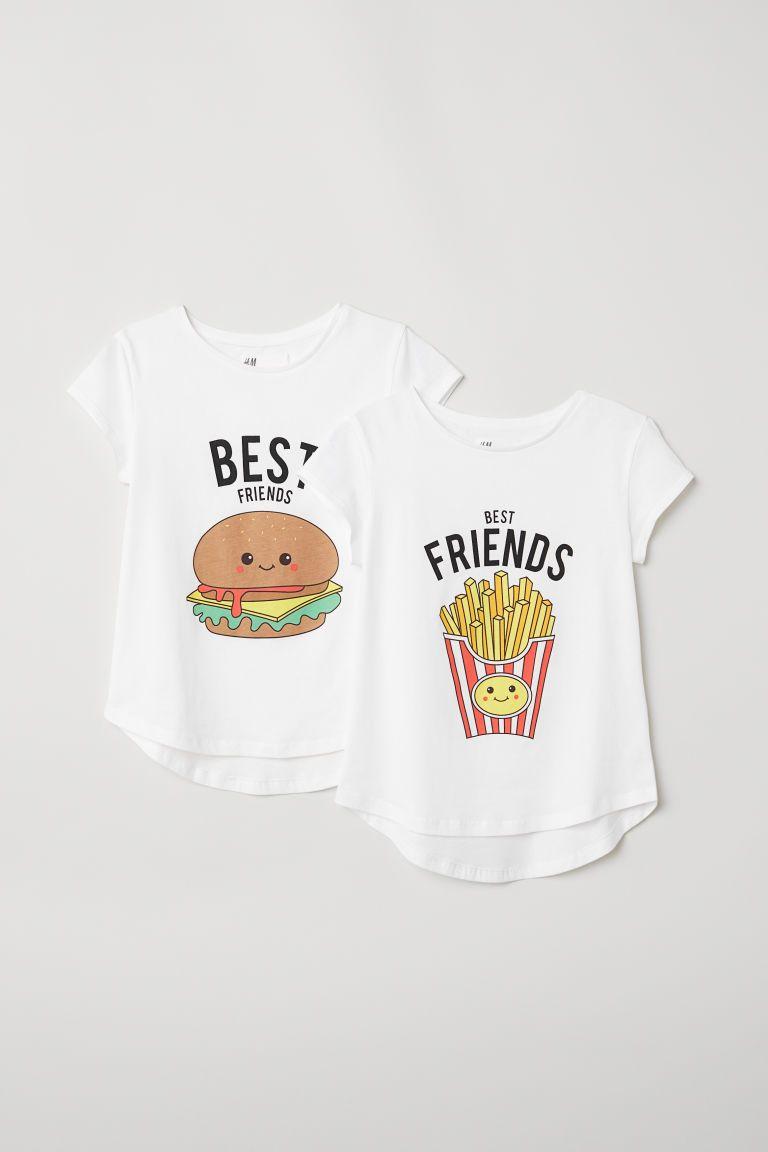 2 Pack Best Friends Tops White Best Friends Kids H M Us Best Friend T Shirts Best Friend Matching Shirts Best Friend Outfits