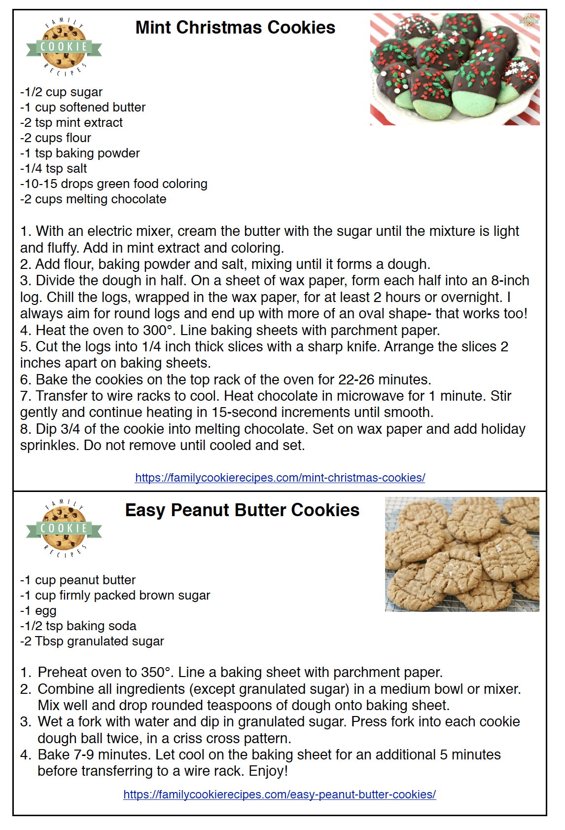 Printable Cookie Recipes