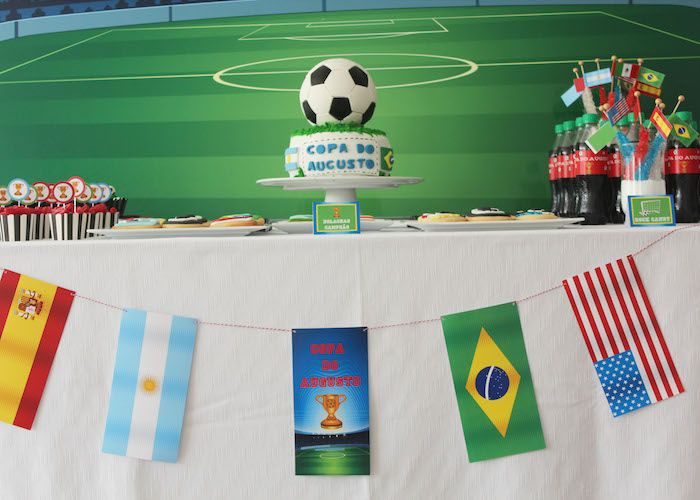 World Cup Themed Birthday Party Soccer Birthday Parties Birthday Party Themes Kids Party Games