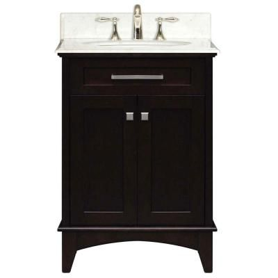 Water Creation Manhattan 24 In Vanity In Dark Espresso With Marble Vanity Top In Carrara White Ma Traditional