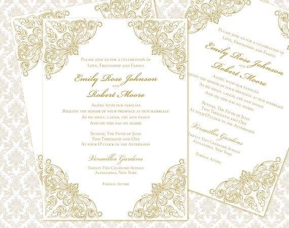 DIY Wedding Invitation Printable Template 5x7 by WeddingsbyJanieV - invitation template