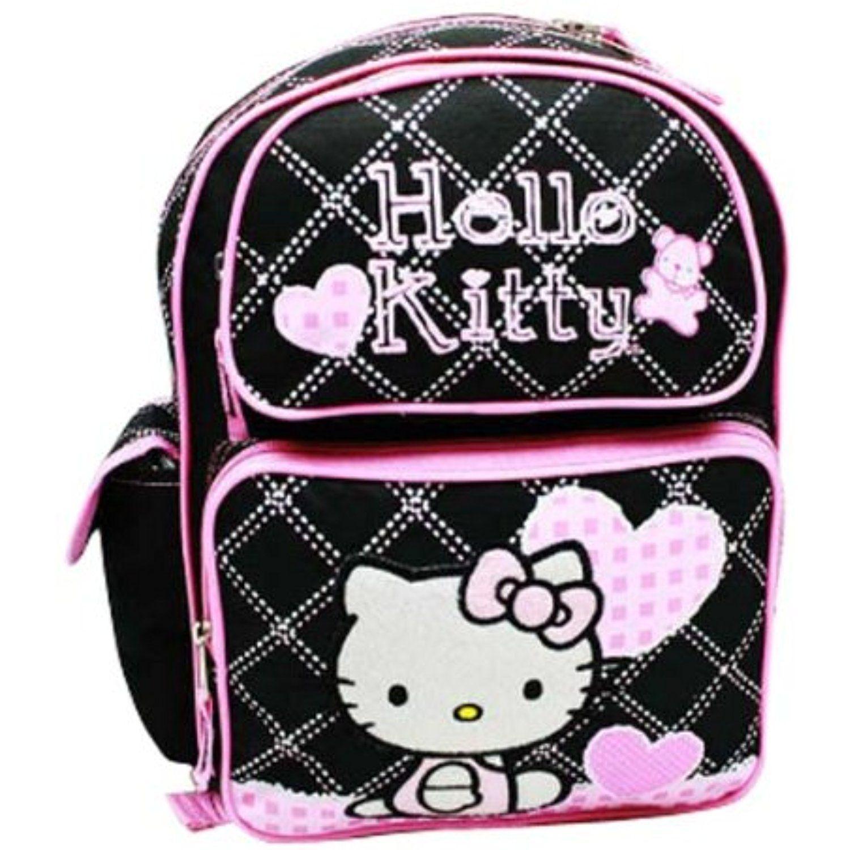 "Backpack 16/"" Sanrio Hello Kitty Face Black Heart Rainbow NEW"