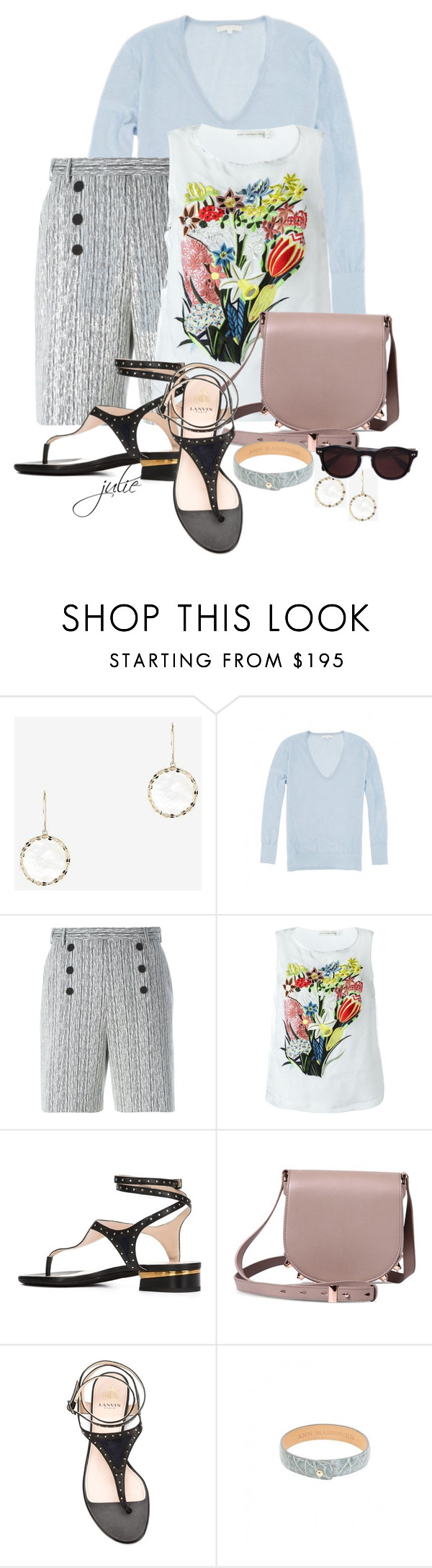 """""""High-Waisted Shorts"""" by scottiej ❤ liked on Polyvore featuring Lana Jewelry, Carven, Mary Katrantzou, Lanvin, Oliver Peoples, women's clothing, women, female, woman and misses"""