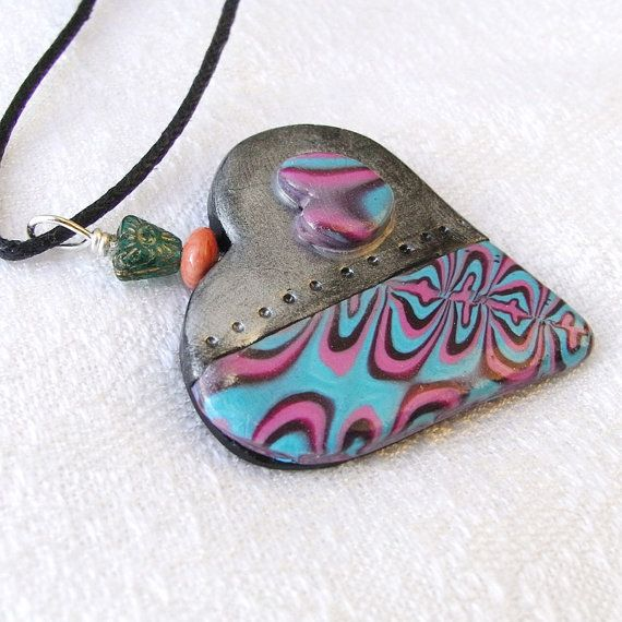 Heart Pendant Necklace Blue and Pink Pattern with by averilpam
