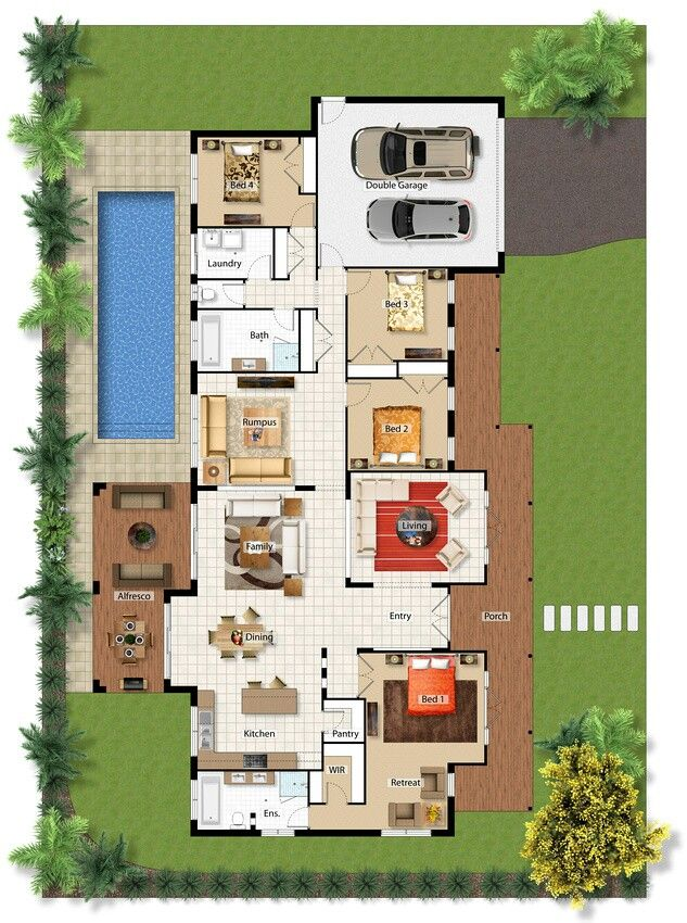 Pinterest claudiagabg casa 4 cuartos 1 estudio abierto for Planos de casas con piscina