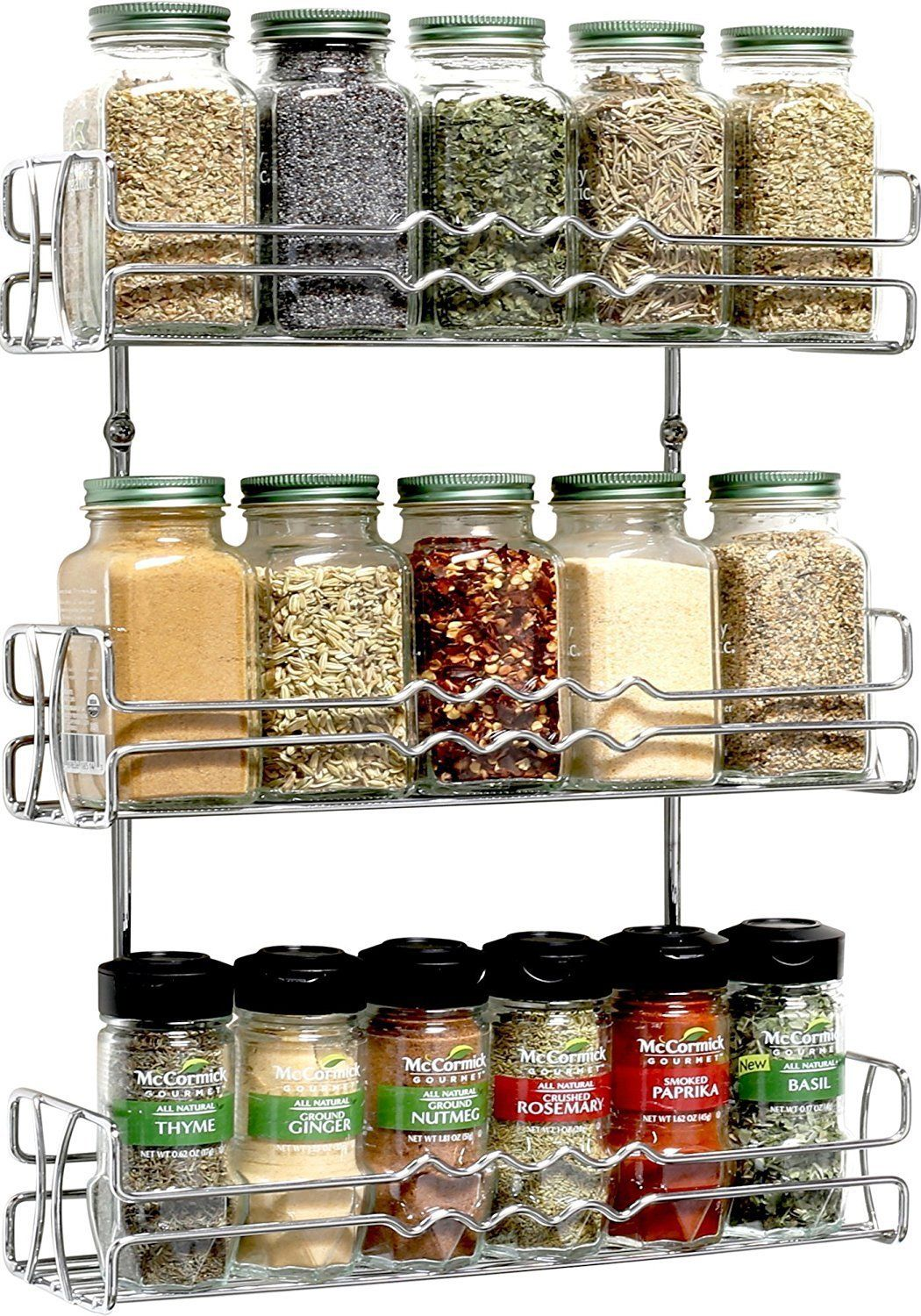 Buy Callas 3 Tier Wall Mounted Spice Rack Kitchen Organiser Chrome Ca 67 Online At Low Prices Wall Mounted Spice Rack Spice Rack Wall Mounted Storage Shelves