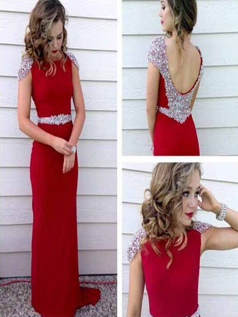 High quality charming a line round neck floor length red beading