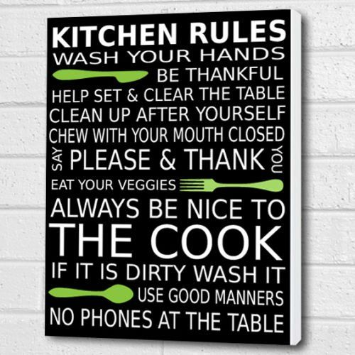 Kitchen Rules Wall Art Box Canvas - Black/lime - A3 12x16 inch ...