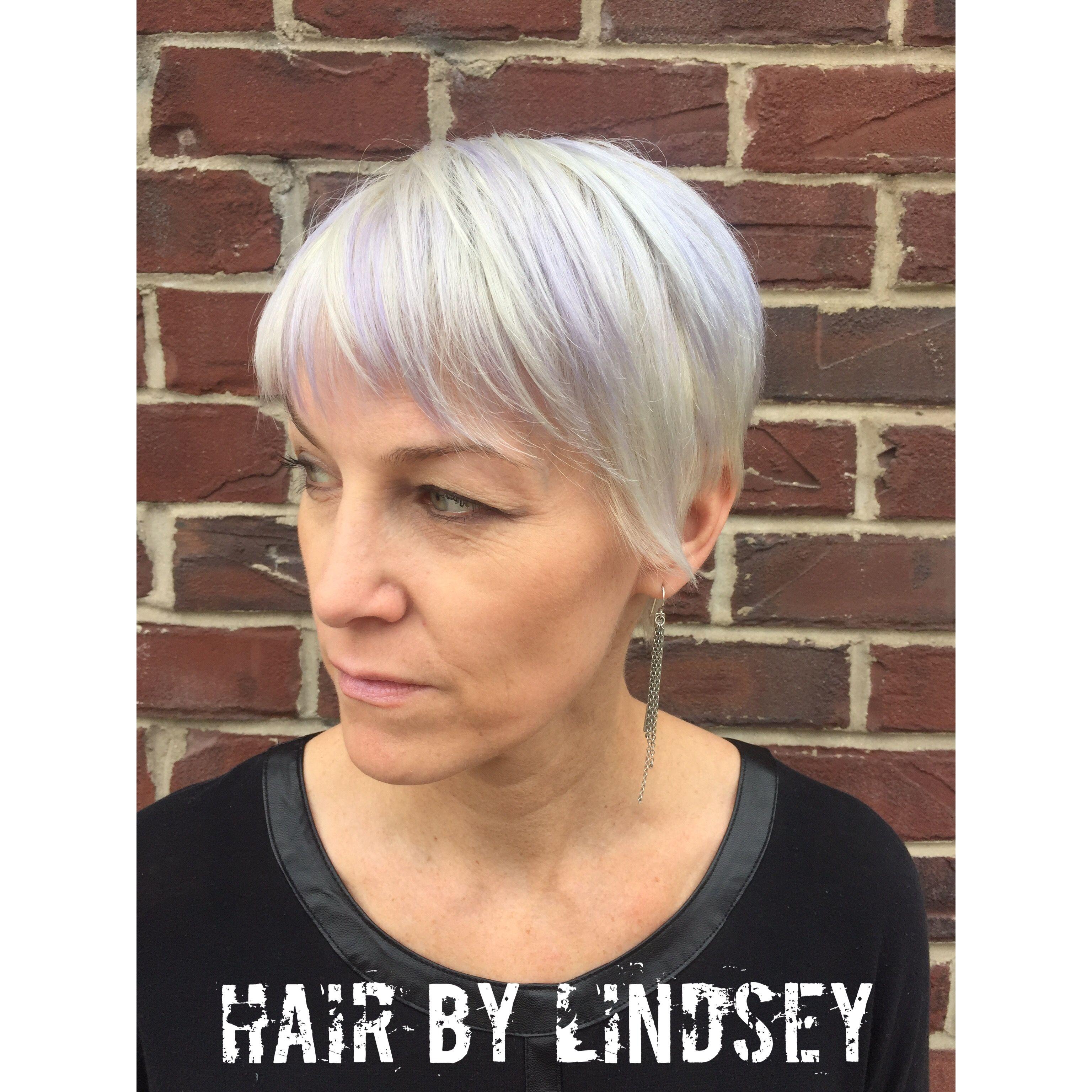 Pixie Haircut Shorthair Silverhair Purplehighlights Lindsey