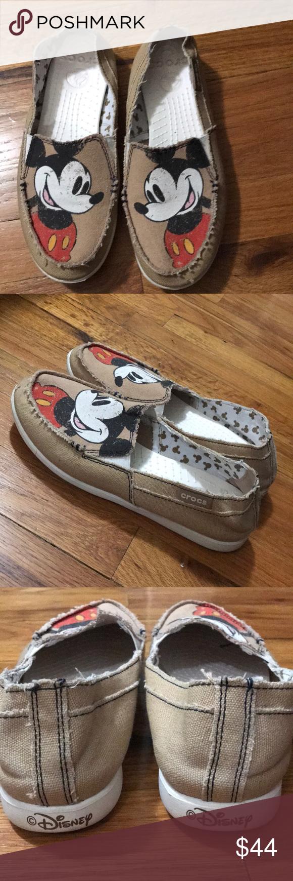 meet elegant shoes pre order EUC Mickey Mouse Crocs Size 8 Tan, slip-on canvas Melbourne Disney ...
