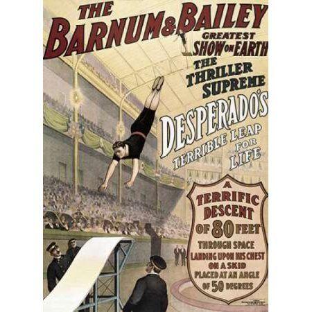 Barnum and Bailey - Desperados Terrible Leap Canvas Art - Unknown (20 x 28)
