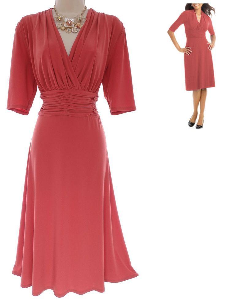 16 Xl 1x Sexy Womens Coral Ruched Waist Dress Dayevening Wedding