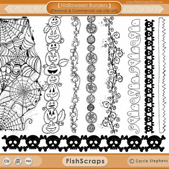 Halloween ClipArt, Spider Web Border Stamps, Hand Drawn Digital ...