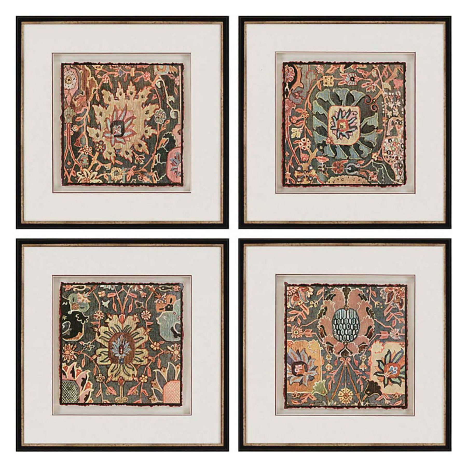 Paragon Decor Persian Carpet Framed Wall Art - Set of 4 - 7703 ...