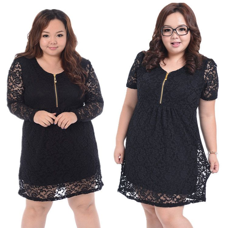 Mulheres Plus Size vestido de renda alta qualidade da gordura Mulheres Vestidos Big Size Vestuário Zipper Mini Verão Grande solto elegante vestido XXXXL