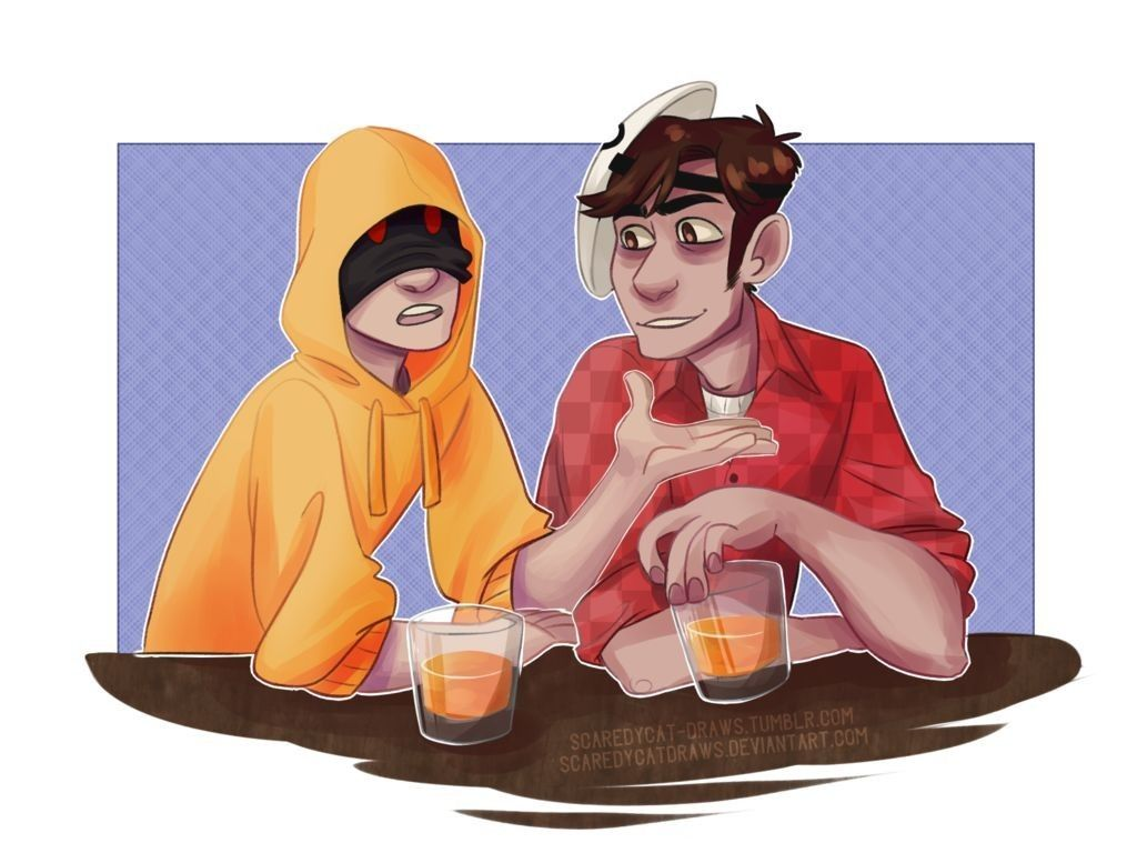 Hoodie And Masky Tim And Brian Chillin With Drinks Creepypasta