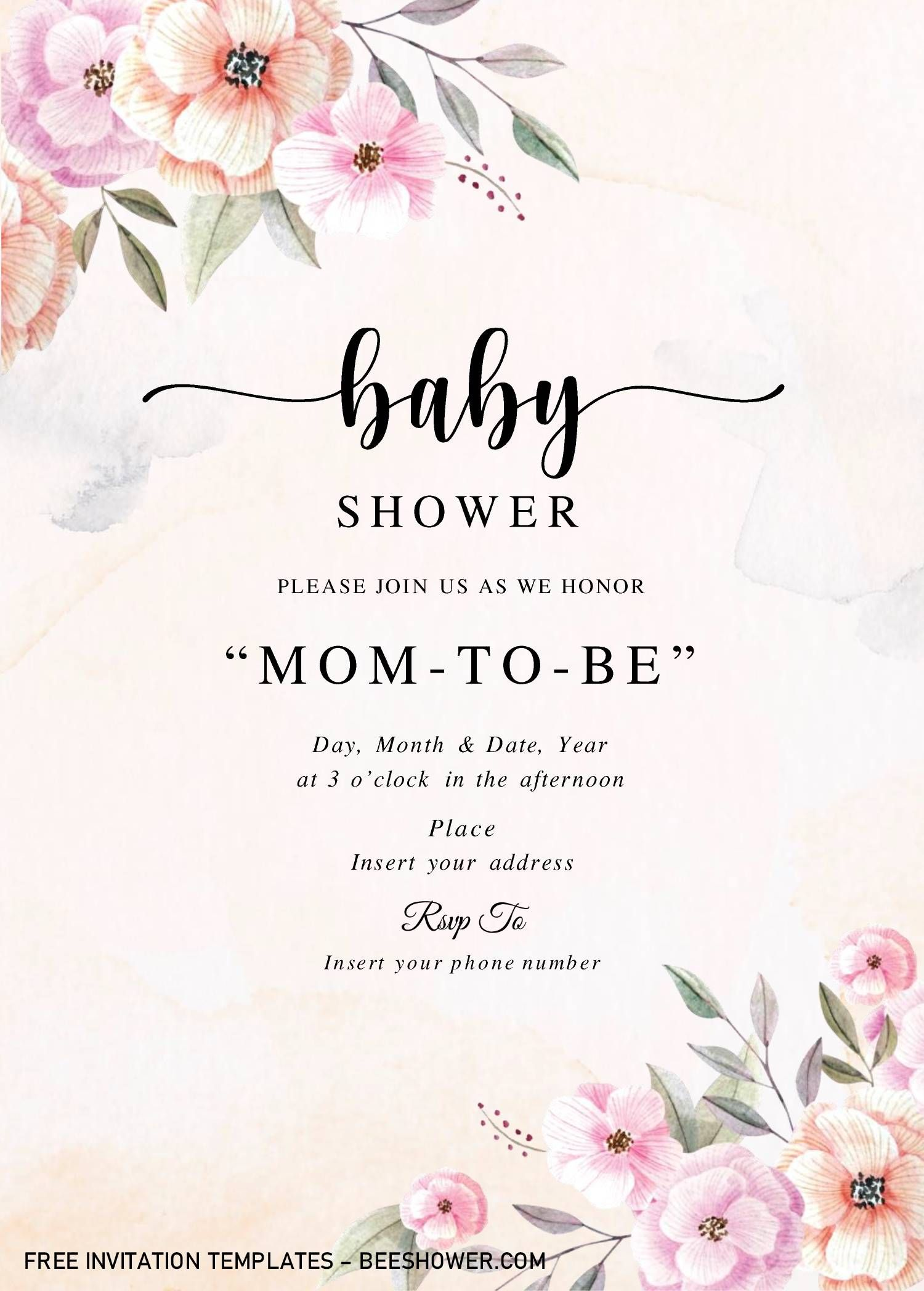 Rustic Floral Baby Shower Invitation Templates Editable With Microso Free Baby Shower Invitations Baby Shower Invitation Cards Floral Baby Shower Invitations Baby shower invitation template word