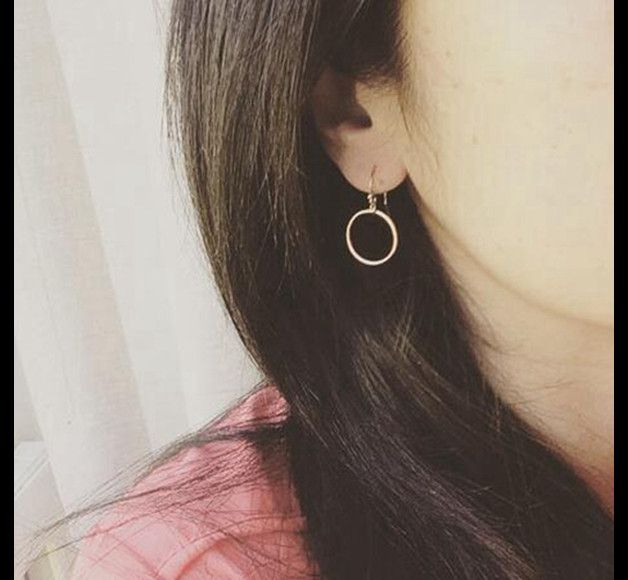 Perfect gift for minimalists. Stud Earrings – Circle Earrings,Simple Ring Dangle Earrings Hook – a unique product by ShieldBeads via en.DaWanda.com