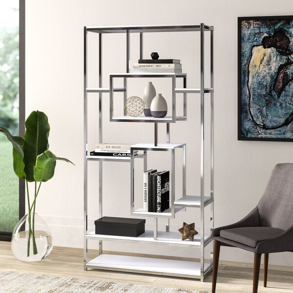 Clements Geometric Bookcase In 2020 Etagere Bookcase Bookcase Glass Shelves Decor