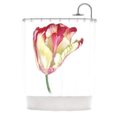 Kess Inhouse Red Tip Tulip Shower Curtain Tulip Shower Curtain