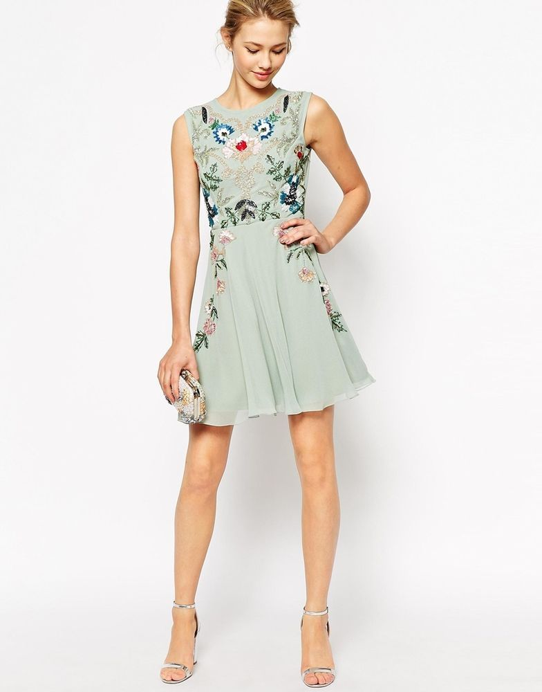 Frock and Frill Sleeveless Floral Embellished Skater Prom Dress UK 12 -US 8