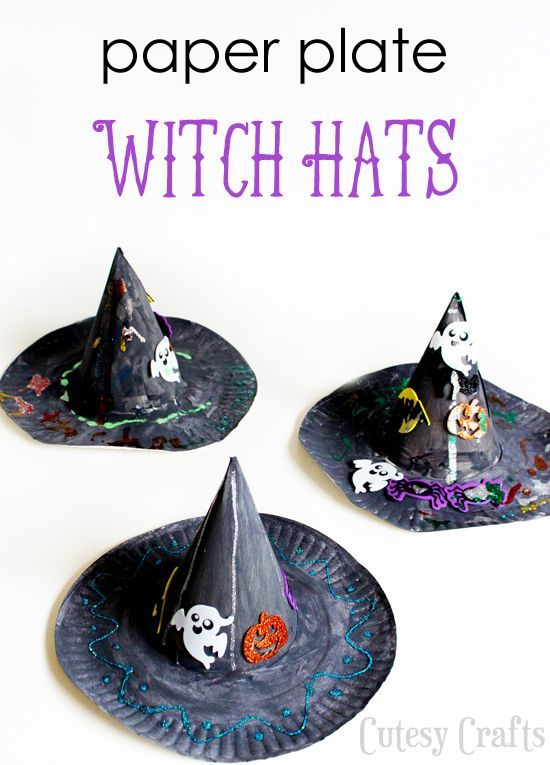 Halloween Craft for Kids - Paper Plate Witch Hat Witches, Craft - halloween kids craft ideas