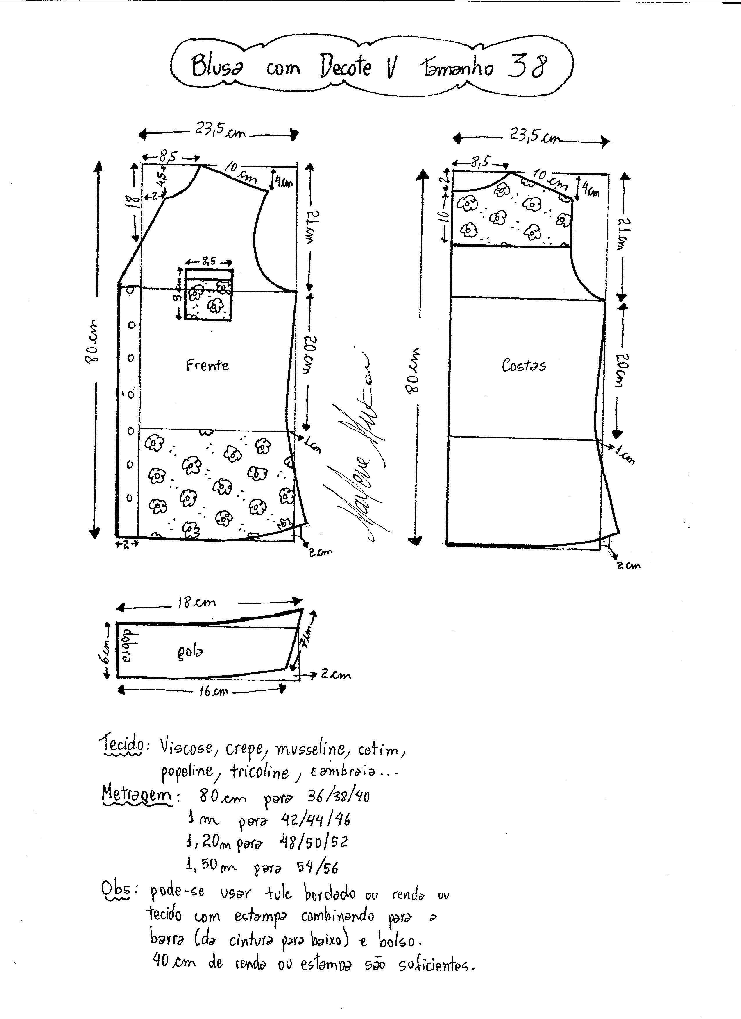 Blusa con cuello V | pratrones de todo | Pinterest | Costura, Blusa ...