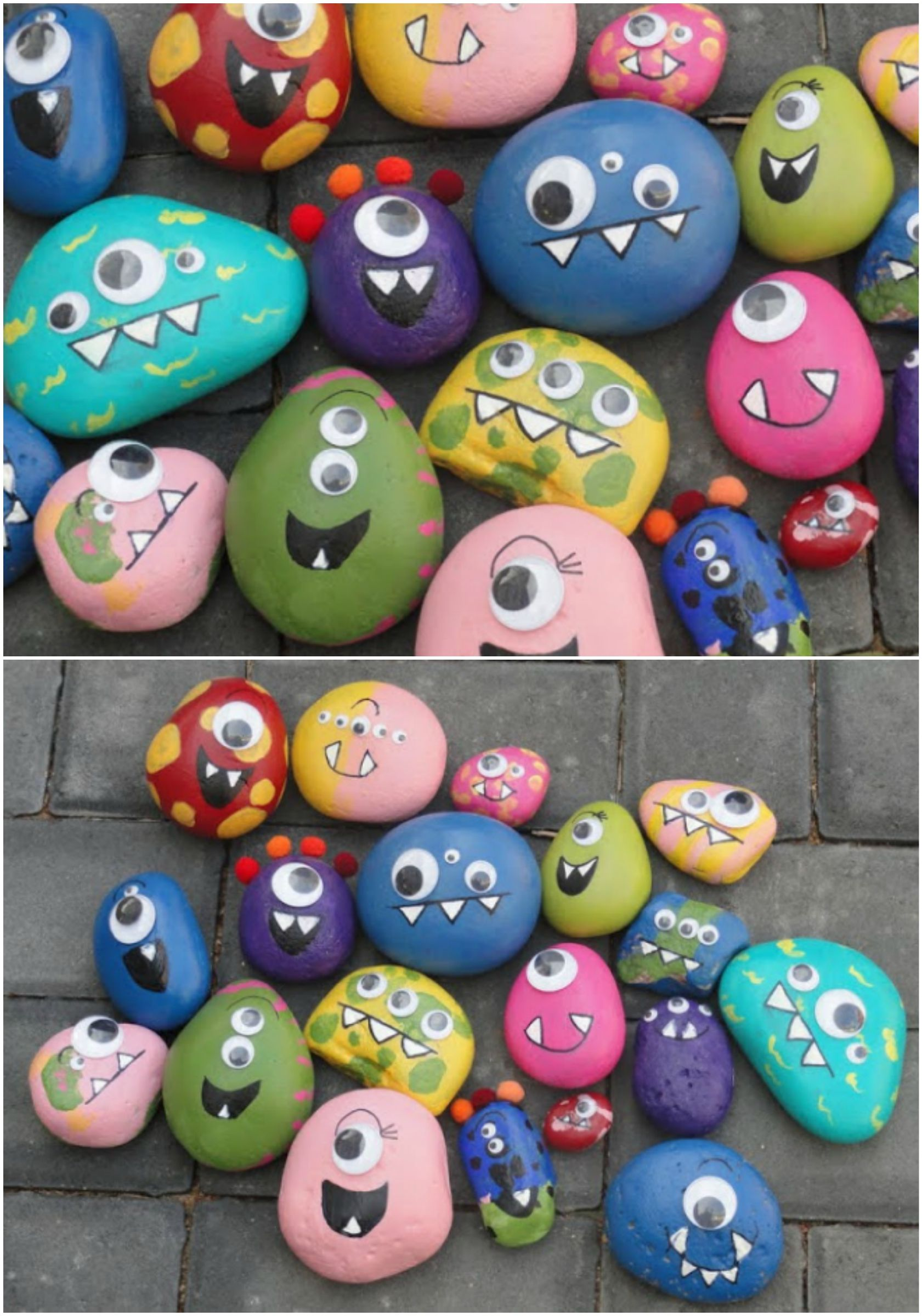 These happy monster rocks would brighten up any garden! Cute DIY project to get Dennis smiling (and keep him busy…) on a rainy day. -   25 diy rock garden ideas