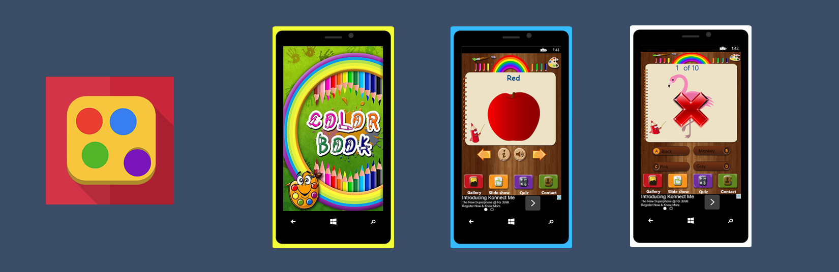 Let Your Kids To Identify Color By Own Through Color Book App Now Available On Windows Phone Coloring Book App Windows Phone Phone