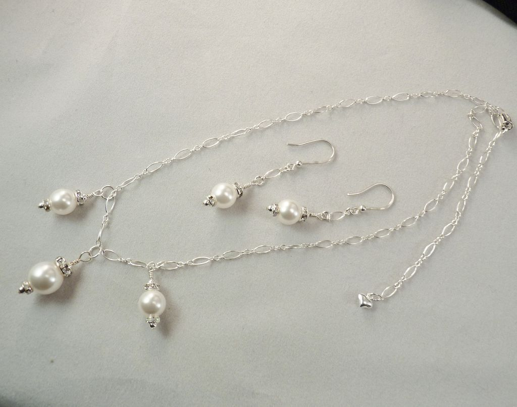 Handcrafted Wedding Bridal Swarovski Crystal Pearl and Crystal Sterling Chain Necklace and Earrings