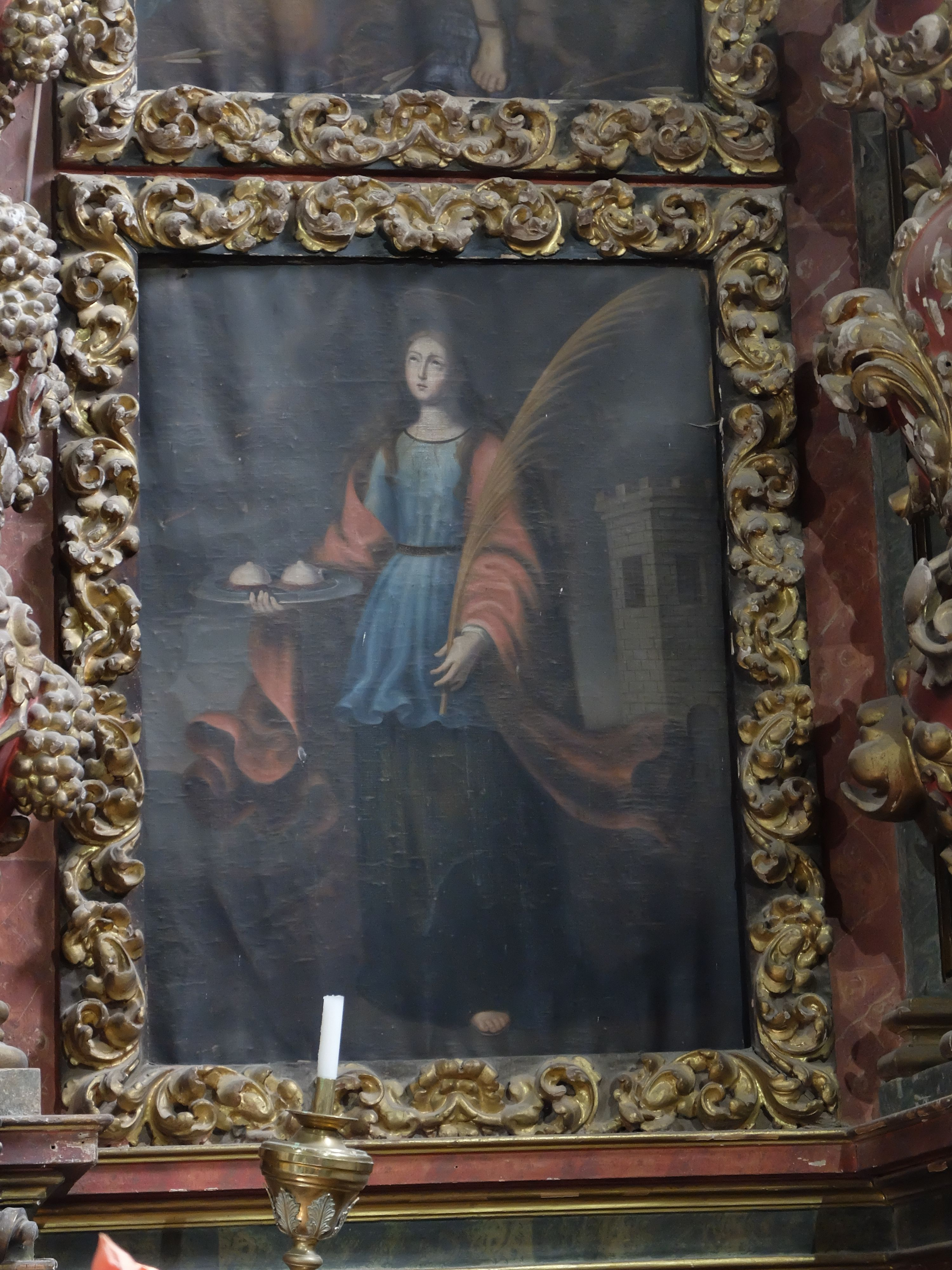 Palazuelos. Iglesia. Detalle de retablo mayor.