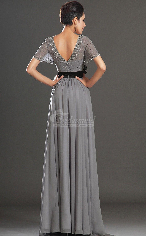 Silver wedding dresses plus size  Elegant VNeck Floor Length Silver Plus Size Bridesmaid Dresses