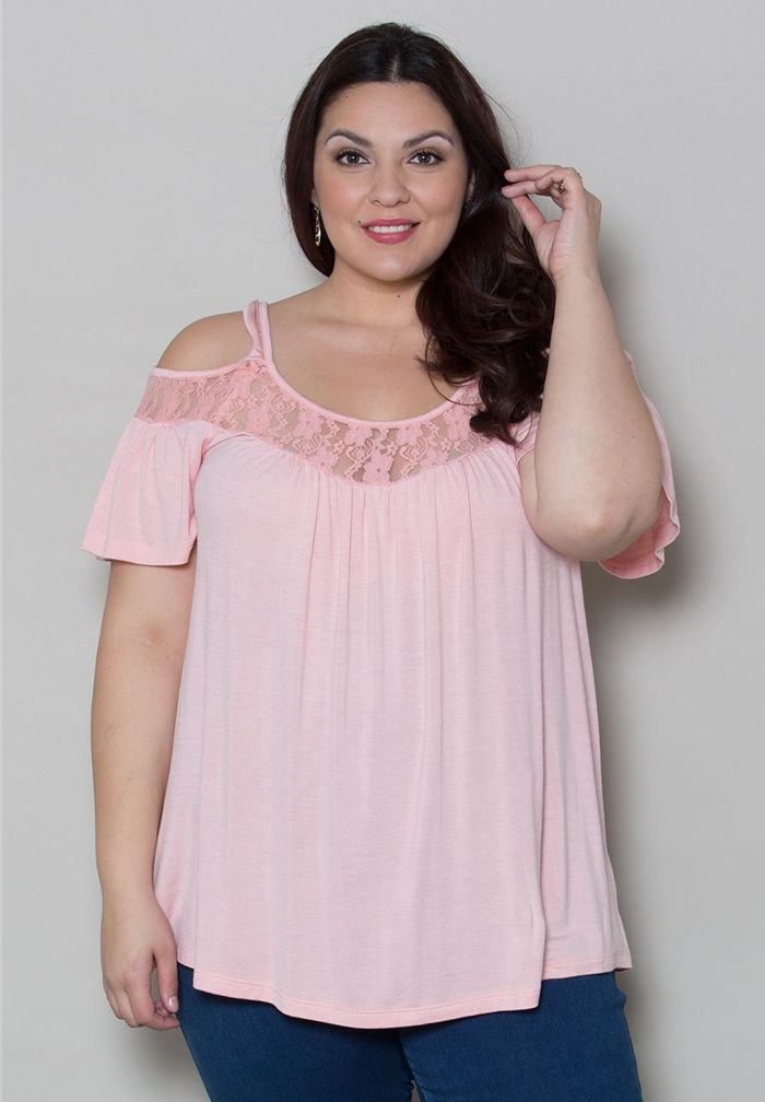 77ca1a7180aa5b Plus Size Stacy Cold Shoulder Top - Light Peach SAVE 40% Shop  www.curvaliciousclothes.com
