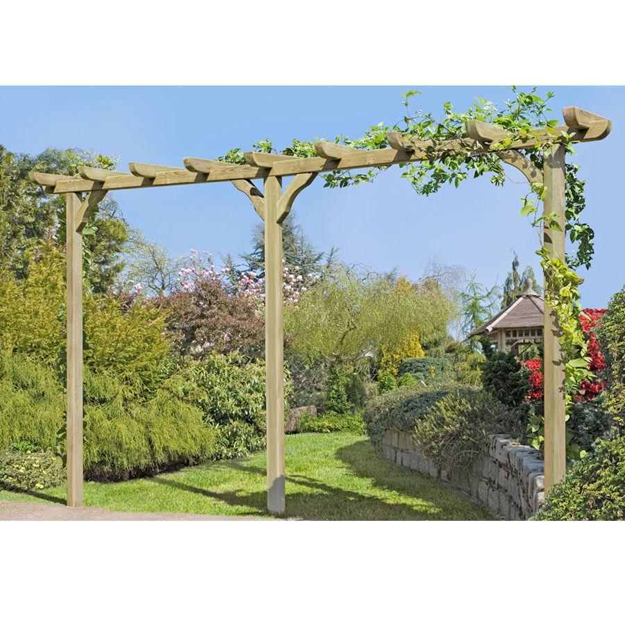 Pergola Aus Holz Torbogen Rankhilfe Lange Ca 450 Cm Mit Pfosten 9x9cm Pergola Pergola Holz Garten Kaufen