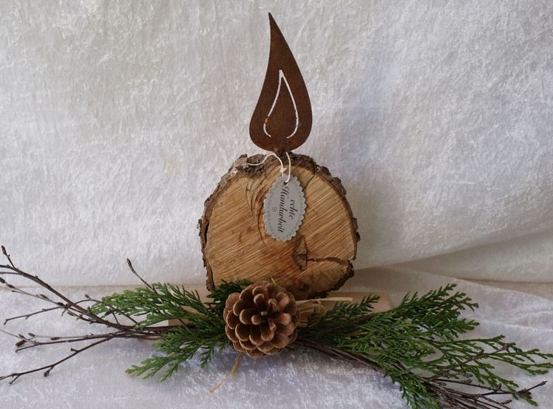 ♥♥♥ kerze aus holz mit rostflamme♥ von geschenke und mehr auf,