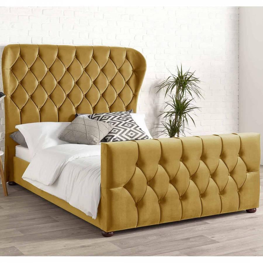 Aspire Furniture Janssen Bed Frame King 5 Plush Velvet