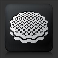 Black Square Button with Dessert Icon vector art illustration