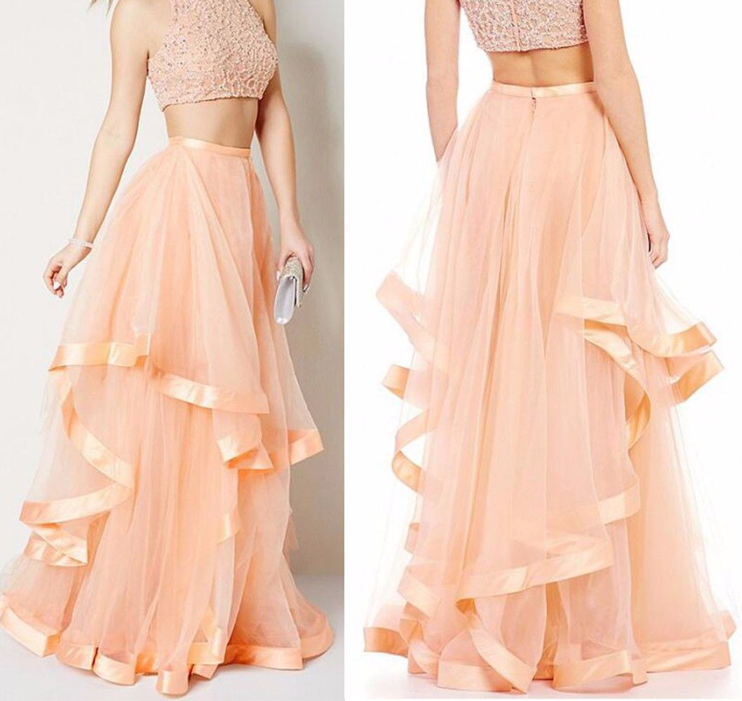 Tiered ruched tulle skirts bohemian peach puffy prom party long tutu