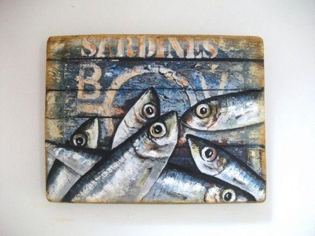sardines sur peinture de bateau ecaillee peinture par. Black Bedroom Furniture Sets. Home Design Ideas