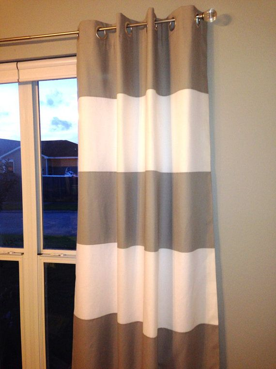 Premier Custom Horizontal Wide Striped Curtain Panels Blackout Lined Set Of 2 On Etsy 165 00 Striped Curtains Horizontal Striped Curtains Panel Curtains