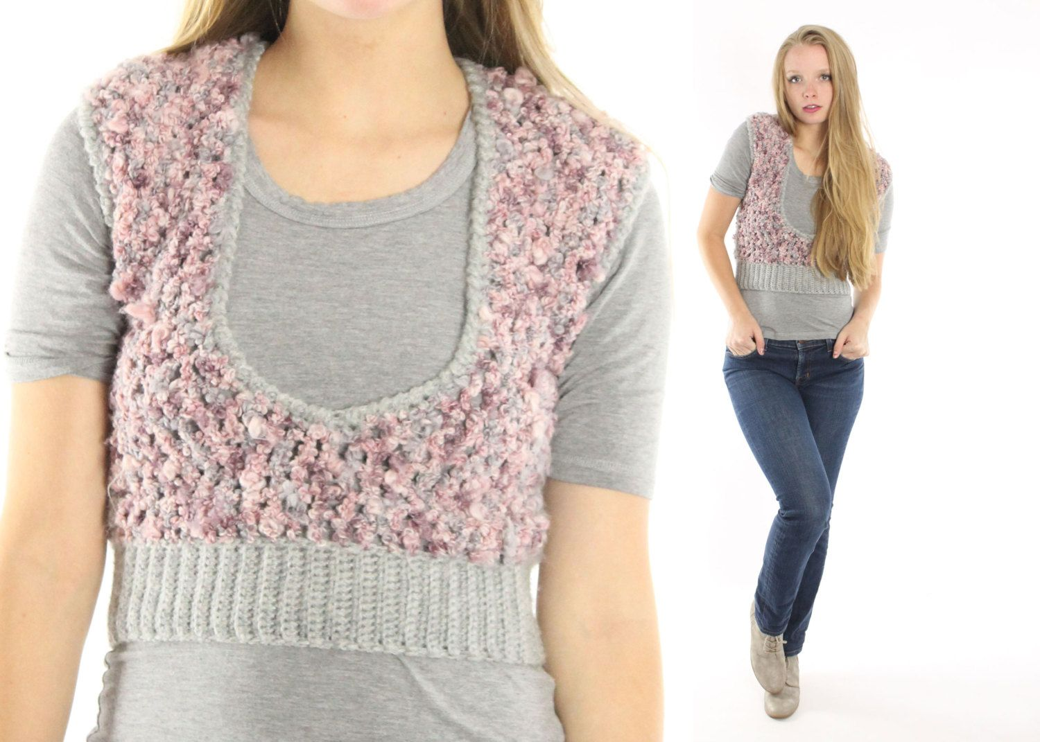 $36, Vintage 70s Sweater Vest Cropped Sweater Vest Pink Gray Knit ...