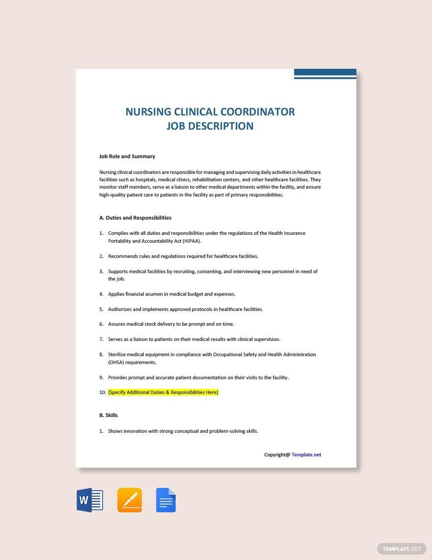 Free nursing clinical coordinator job description template