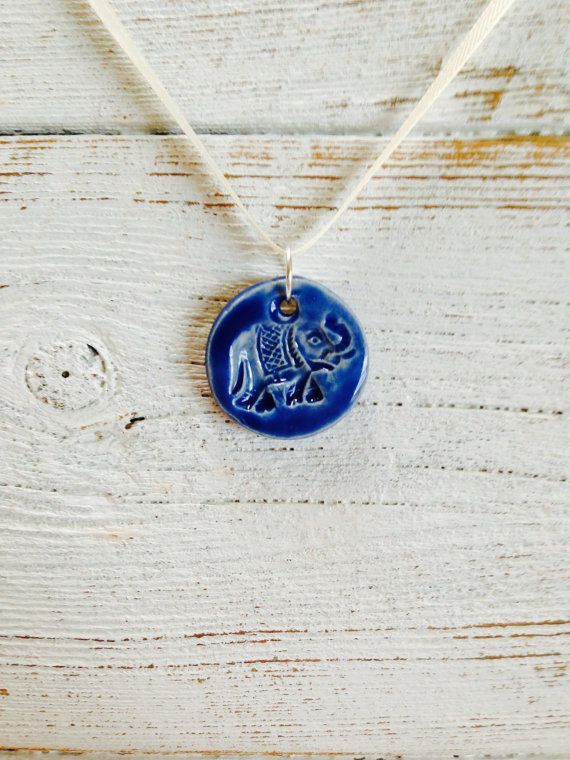 Royal Blue Ceramic Elephant Pendant Zen Boho by southerngracie, $7.00