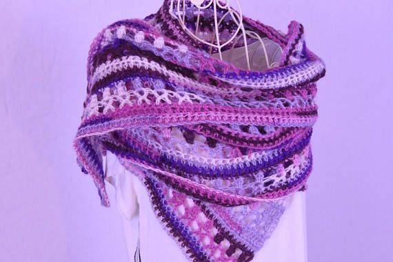 Crochet Scarf In Purple And Pink Shades Haken Pinterest