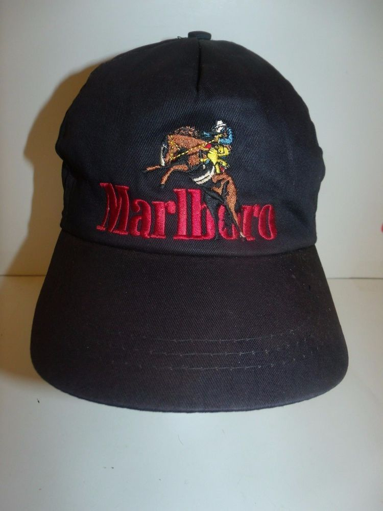 9c012b21ef25b Vintage Marlboro Cigarettes Horse Cowboy Snapback Hat RARE 90s  Marlboro