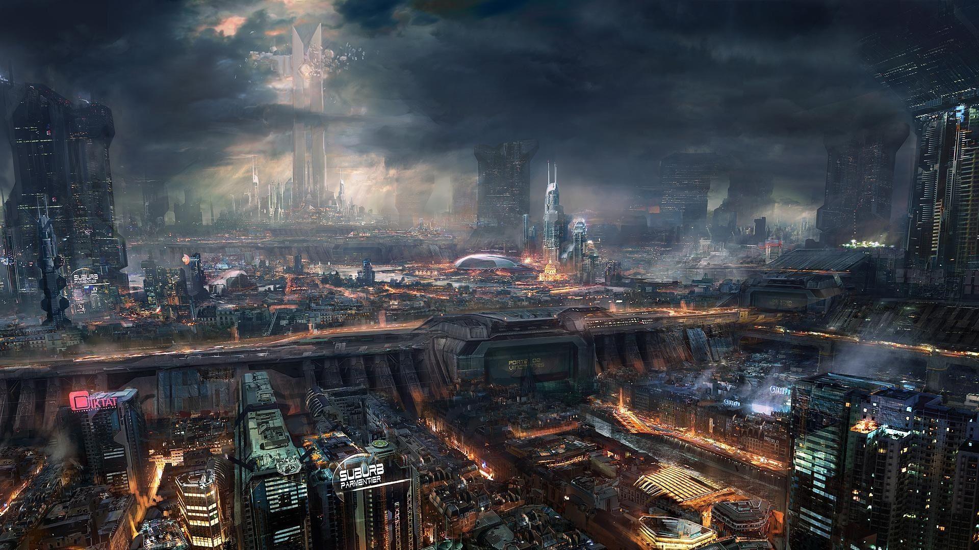 Video Game Adrift City Dark Cg Cgi Digital Art Sci Fi Wallpaper Futuristic City Cyberpunk City Cyberpunk Art