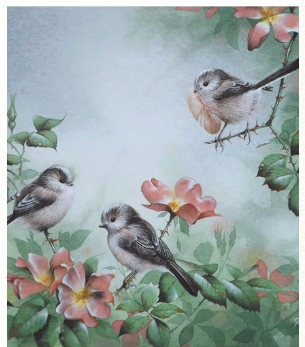 Long Tailed Tits by David Finney--Wildlife Artist--Birds