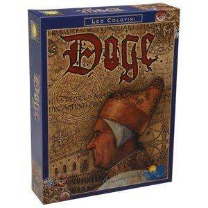 Doge, by Rio Grande Games. Venice, also called Serenissmia, the most venerable, flourished in the late middle ages as a merchant center. The old established families competed for political power and influence in this city state. As the heads of these families, the players use their power and influence to build the most magnificent buildings and palaces along the grand canal. Those that move swiftly and cleverly may attain the highest office in Venice: the office of the Doge.