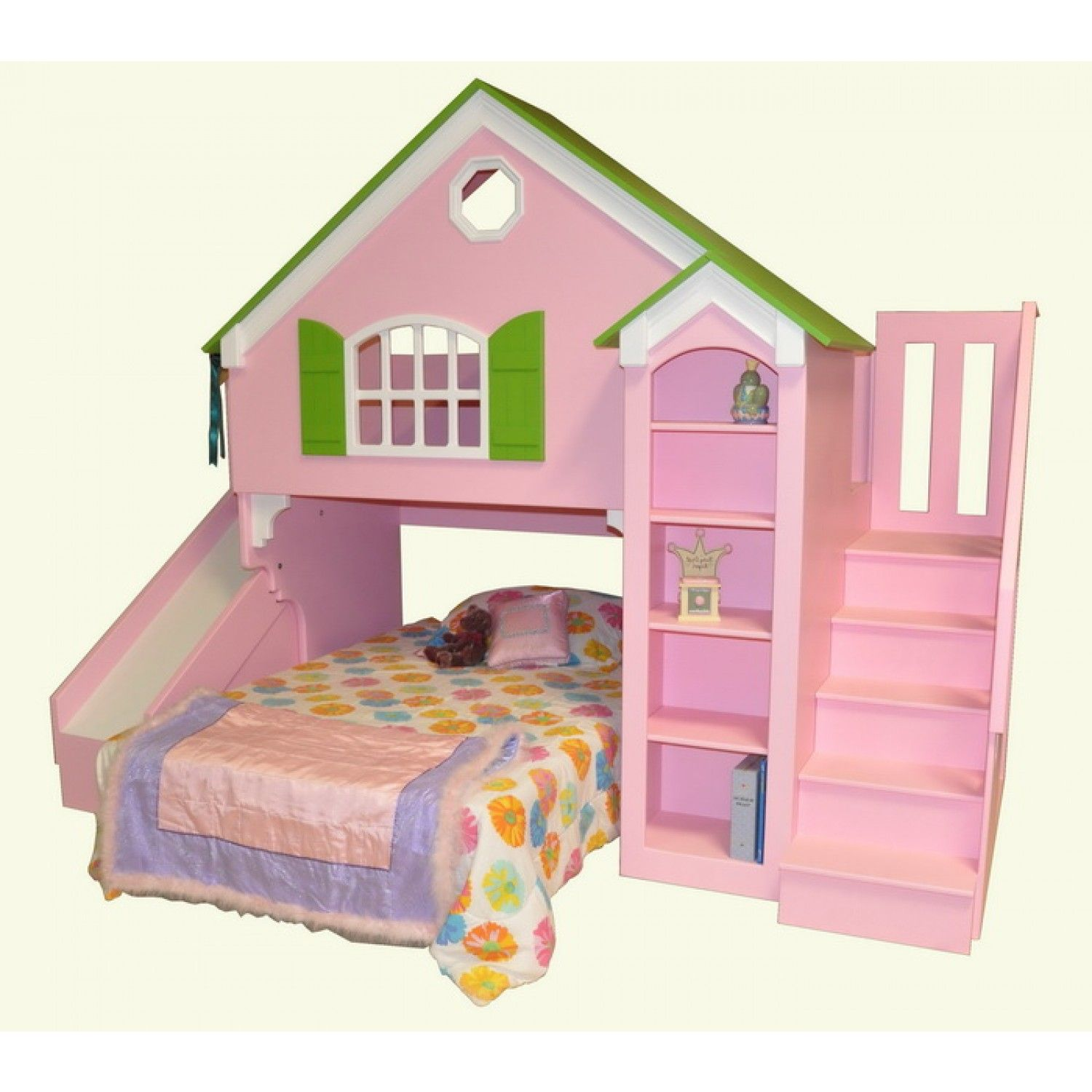 Twin Bed With Slide Part - 21: Cool Kids Bunk Beds With Slide : Dollhouse Bunk Bed Shown With Optional  Slide And Staircase. Best Kids Bunk Beds With Slide,Cool Kids Bunk Beds  With Slide ...