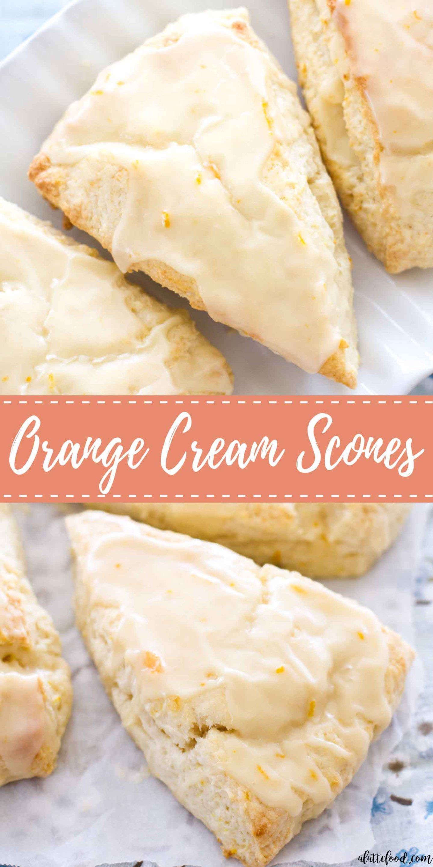 These homemade Orange Cream Scones are one of my favorite summer dessert recipes! These tender cream scones are packed with orange flavor and topped with a sweet homemade orange glaze, making them a perfect breakfast, brunch, or dessert! homemade Orange Cream Scones are one of my favorite summer dessert recipes! These tender cream scones are packed with orange flavor and topped with a sweet homemade orange glaze, making them a perfect breakfast, brunch, or dessert!